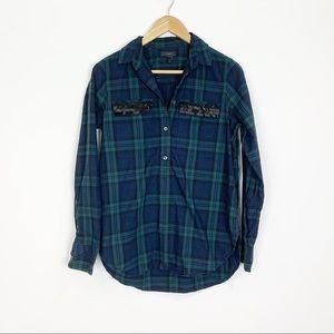 J.Crew Beaded Chevron Popover Shirt Plaid Size 4